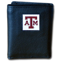 Texas A & M Aggies Deluxe Leather Tri-fold Wallet Packaged in Gift Box