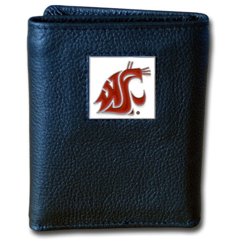 Washington St. Cougars Deluxe Leather Tri-fold Wallet Packaged in Gift Box