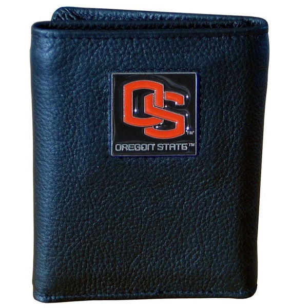 Oregon St. Beavers Deluxe Leather Tri-fold Wallet Packaged in Gift Box