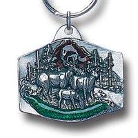 Deer Family Metal Key Chain with Enameled Details
