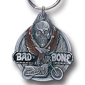 Bad To The Bone II Metal Key Chain with Enameled Details