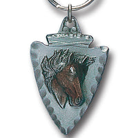 Horse On Arrowhead Metal Key Chain with Enameled Details