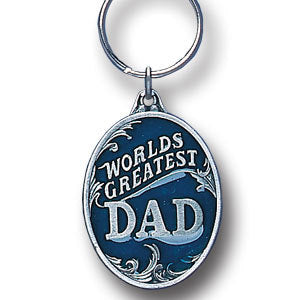 World's Greatest Dad Metal Key Chain with Enameled Details