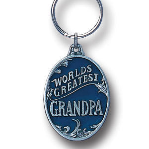 World's Greatest Grandpa Metal Key Chain with Enameled Details