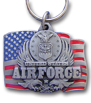 U.S. Air Force Military Metal Key Chain with Enameled Details