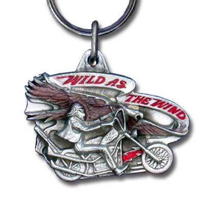 Wild as the Wind Motorcyle Metal Key Chain with Enameled Details