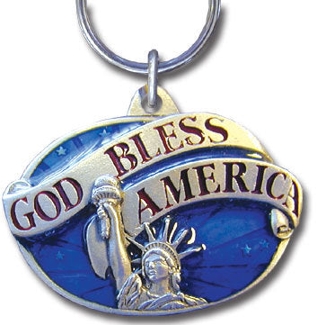 God Bless America Metal Key Chain with Enameled Details