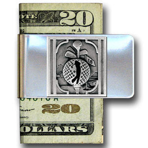 Golf Themed Large Steel Money Clip