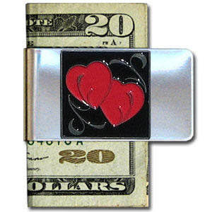 Double Heart Large Steel Money Clip
