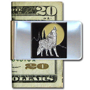 Howling Wolf Large Steel Money Clip