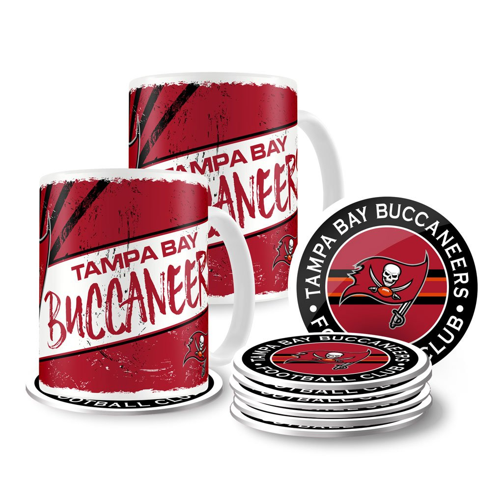 Tampa Bay Buccaneers 15oz Classic Mug Set with 8 Pack Coasters