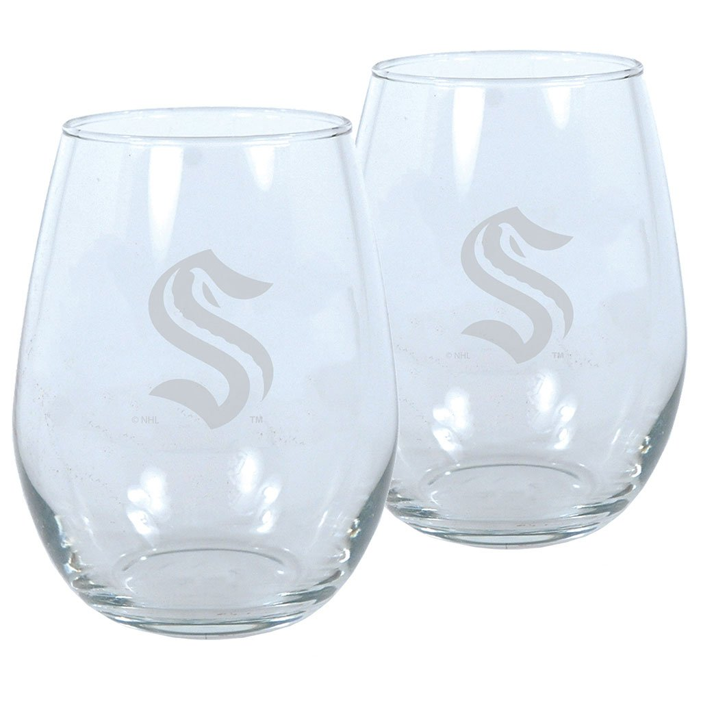 Seattle Kraken Two Pack Lasered Wine Glasses