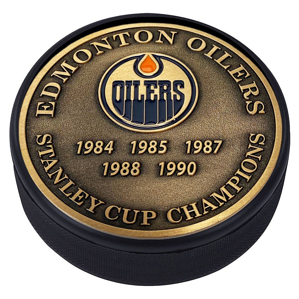 Medallion Puck - Edmonton Oilers Stanley Cup Years Gold