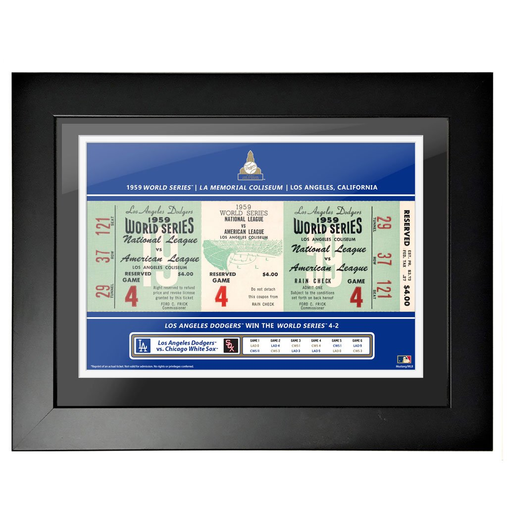 Los Angeles Dodgers 18x24 1959 Game 4 World Series Framed Ticket
