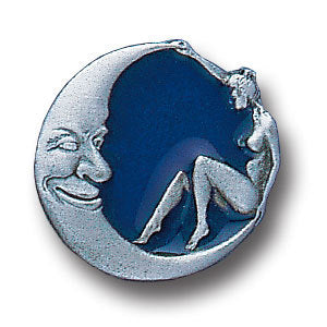 Girl Sitting on Crescent Moon Lapel Pin