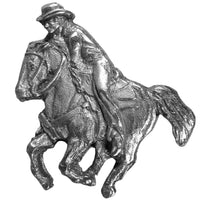 Cowboy on Horseback Antiqued Lapel Pin