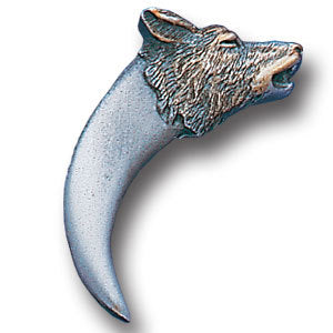 Claw with Wolf Carving Lapel Pin