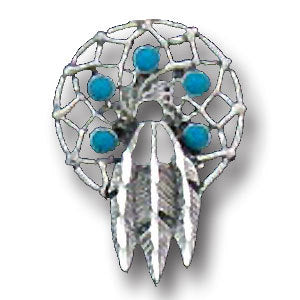 Dream Catcher with Feathers Lapel Pin