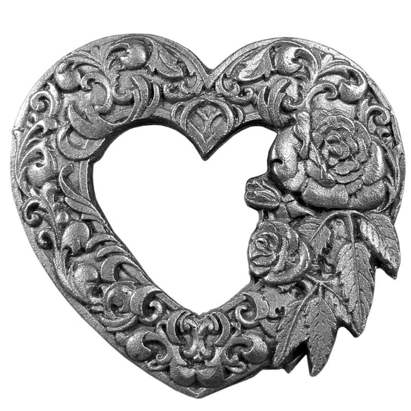 Scroll Heart with Roses Antiqued Lapel Pin