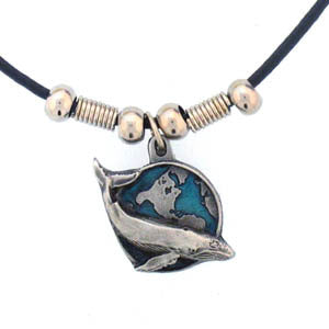 Humpback Whale with Earth Adjustable Cord Necklace