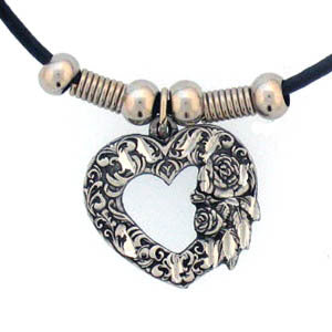 Scroll Heart Adjustable Cord Necklace