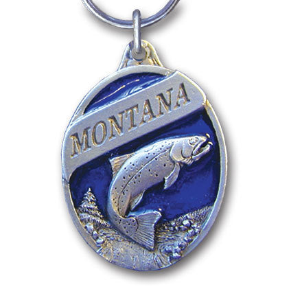 Montana Trout Metal Key Chain with Enameled Details