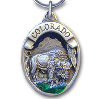 Colorado Bison Metal Key Chain with Enameled Details