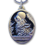 Washington Wolf Metal Key Chain with Enameled Details