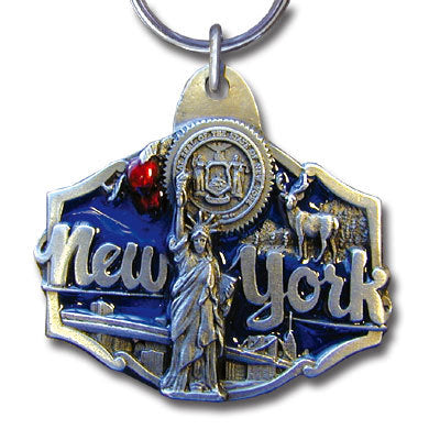 New York Statue of Liberty Metal Key Chain with Enameled Details