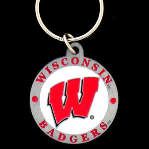 Wisconsin Badgers Carved Metal Key Chain
