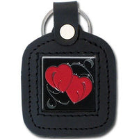 Sq. Leather Keychain - Double Heart