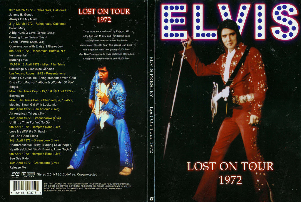 Elvis - Lost On Tour 1972  DVD