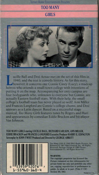 Too Many Girls (1940) - Lucille Ball  VHS