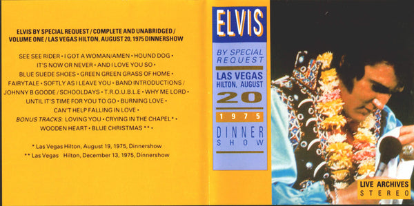 Elvis : By Special Request - Live In Las Vegas 1975  CD