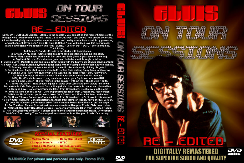 Elvis On Tour Sessions : Re-edited   DVD