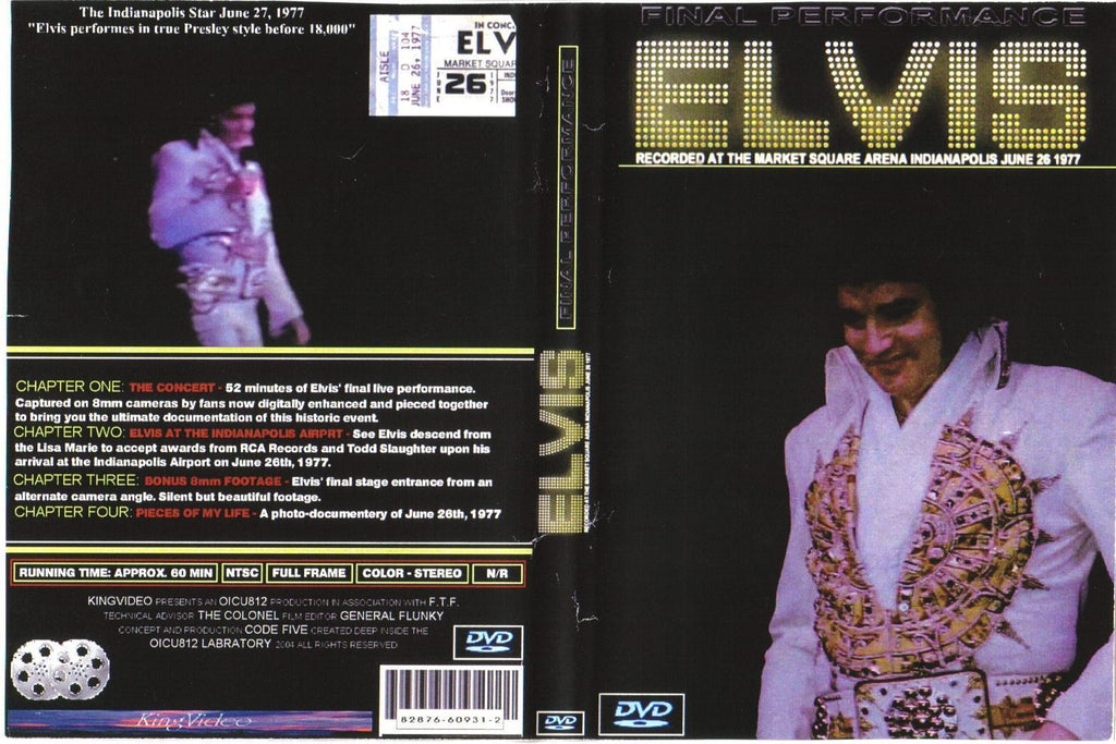 Elvis - His Final Concert, Indianapolis 1977 - NEW remastered DVD