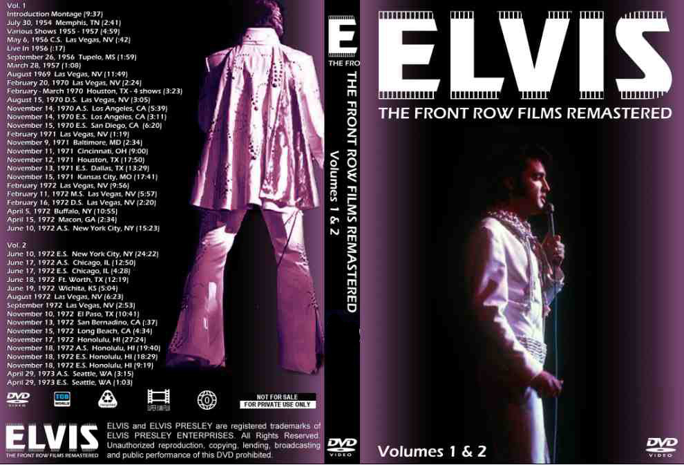 Elvis - The Front Row Films Remastered Vol. 1 & 2 DVD