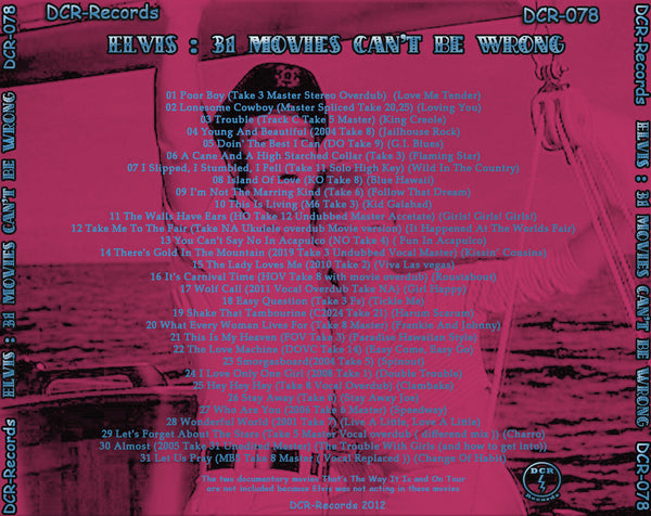 Elvis - 31 Movies Can´t Be Wrong - Alternate Takes CD