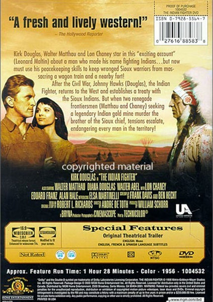 The Indian Fighter (1955) - Kirk Douglas  DVD