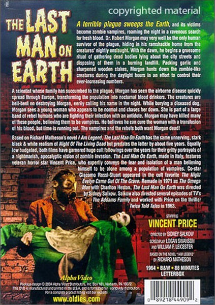 Last Man On Earth (1964) - Vincent Price  DVD