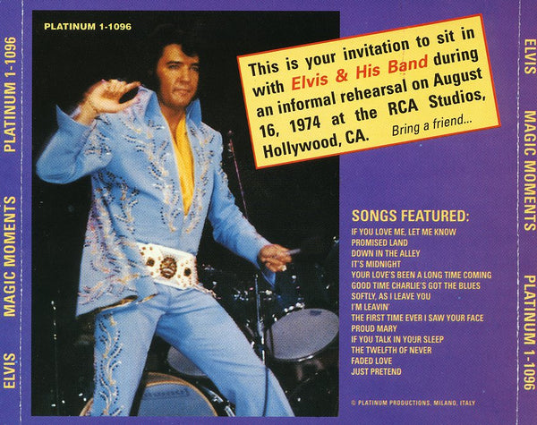 Elvis - Magic Moments - Rehearsals 1974  CD