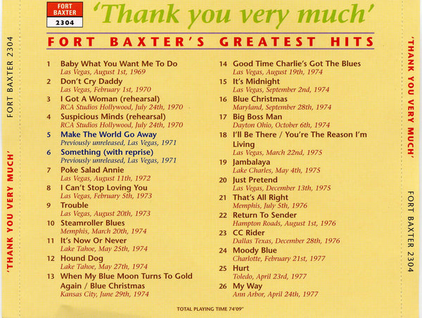 Elvis - Thank You Very Much  CD