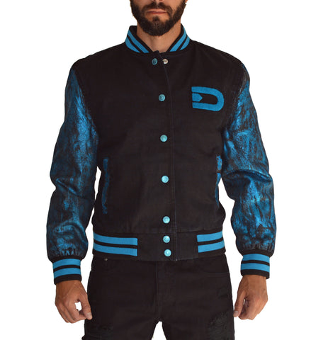 PLATINUM Blue Varsity Letterman Jacket