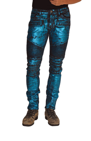 ANARCHY Blue Stretch Moto Pant