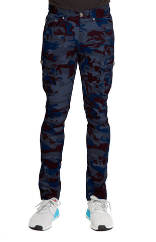 SAIGON Stretch Cargo Moto Navy Red Camo Pant