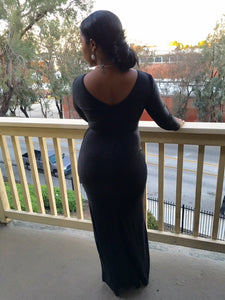 Side Knotted Black Dress