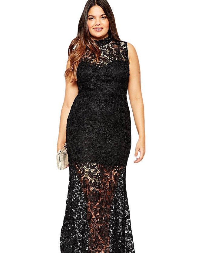 Plus Size Black Lace Evening Dress
