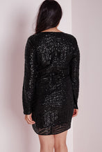 Plus Size Black Sequin Dress