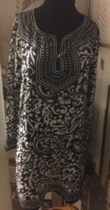 Beautiful Moroccan Black and White Print Tunic