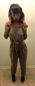 Hooded Coffee Jumpsuit